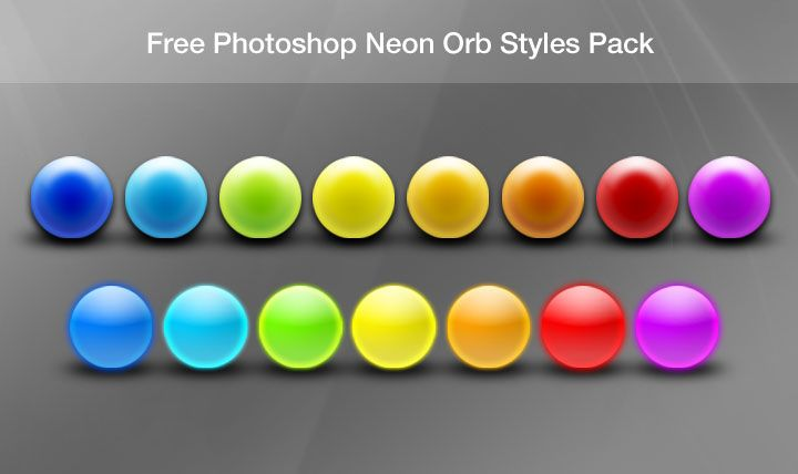 A pack of 15 beautiful neon orb layer styles