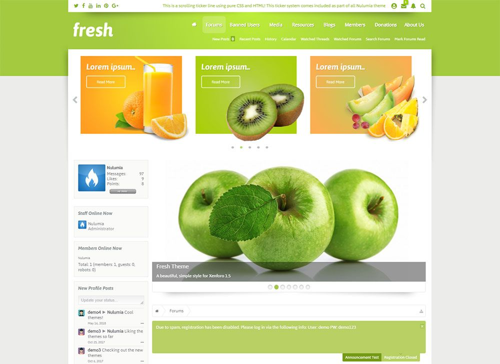 Fresh - Beautiful Light Responsive Xenforo 1 Style