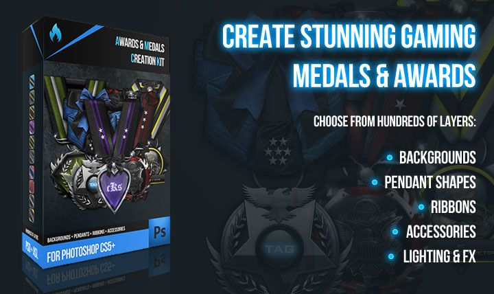 Amazing Photoshop resource kit for building your own gaming medals & awards