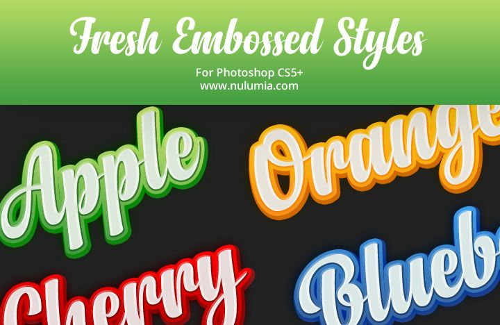 Free Glossy Fresh Embossed Photoshop Text Styles