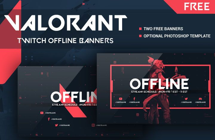 Valorant 2-Pack Free Twitch Offline Banners With Photoshop Kit