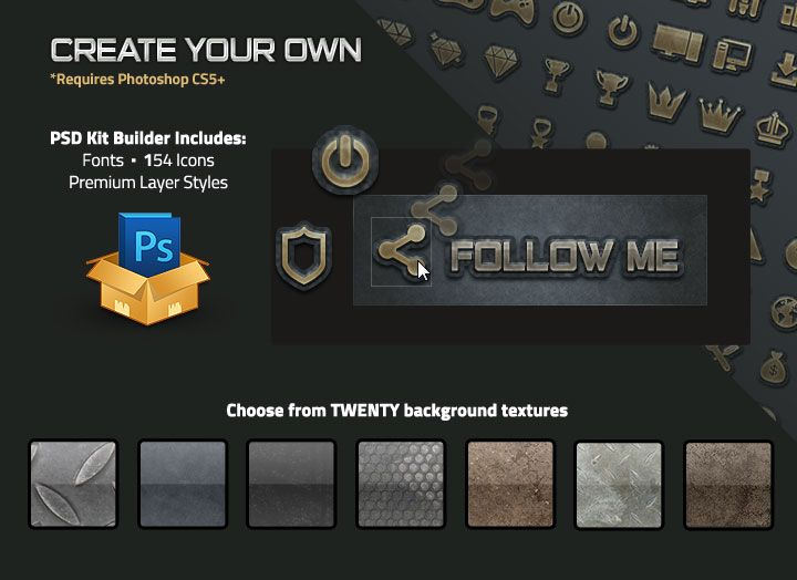 Grunge Twitch Panel Set With PSD Template