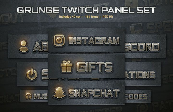 An amazing dark grunge set of Twitch profile panels