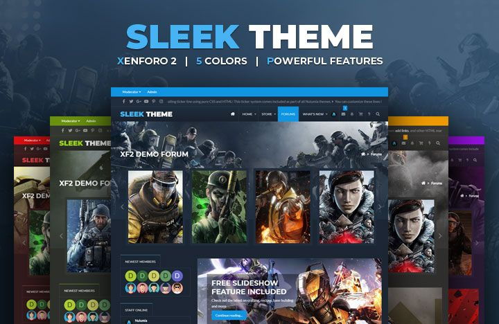 A flat responsive gaming theme with 5 color presets and amazing features
