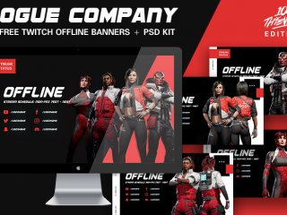 Rogue Company - 100 Thieves Edition - 5 Free Twitch Offline Banners With Photoshop Kit